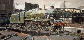 Jubilee Turnaround, Hawke 45652 Jubilee Class Locomotive on Camden turntable, London (oil on canvas)