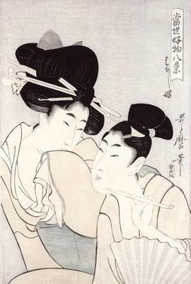 The pleasure of conversation, from the series 'Tosei Kobutsu hakkei' (Eight Modern Behaviours) c.180