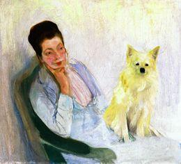 Portrait of the wife of the artist with little dogs