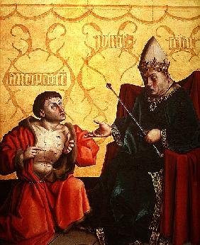 Antipater kneeling before Juilus Caesar, from the Mirror of Salvation Altarpiece, c.1435 (tempera on
