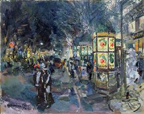 Parisian boulevard at night