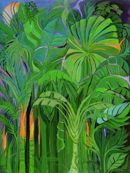Rain Forest, Malaysia, 1990 (acrylic on canvas)