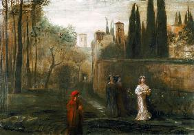 The meeting of Dante and Beatrice