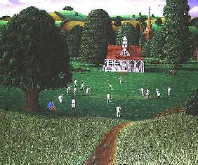 Cricket Match at St. Mary''s Grange, Wilts, 1986 (acrylic on linen)
