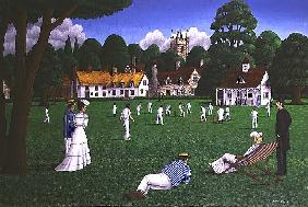 Edwardian Cricket, 1986 (acrylic on canvas)