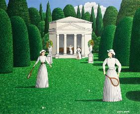 Edwardian Ladies Playing Tennis, 1978 (acrylic on linen)