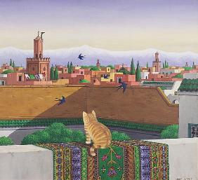 Rooftops in Marrakesh, 1989 (acrylic on linen)