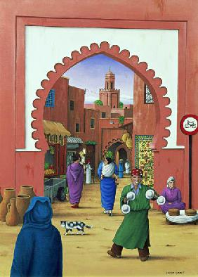 Street Scene in Marrakesh, 1992 (acrylic on linen)