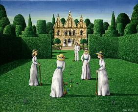 The Croquet Match, 1978 (acrylic on linen)