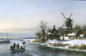 Windmill by a Frozen River