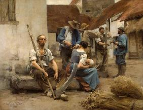 The Harvesters' Pay, after the original of 1882 (colour litho)