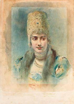 Portrait of a Girl Wearing a Kokoshnik