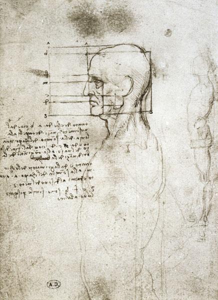 Head Of An Old Man In Profile Facsimile Leonardo Da