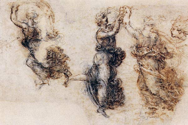 Three Dancing Figures And A Study Of A H Leonardo Da
