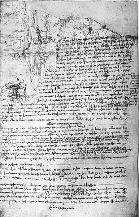 Fol.145v-b, page from Da Vinci''s notebook