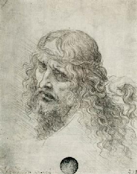 Head of Christ with a hand grasping his hair (black chalk on linen paper)