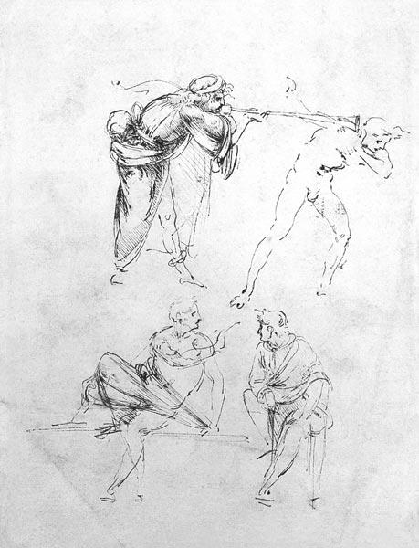 Study of a man blowing a trumpet in another''s ear, and two figures in conversation, c.1480-82 (pen