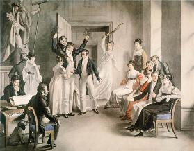 Franz Schubert (1797-1828). Party game of the Schubertians in Atzenbrugg