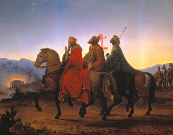 The sacred three kings on their ride to Bethlehem