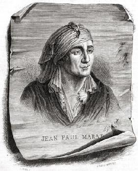 Portrait of Jean Paul Marat (1743-93) engraved by Jean Baptiste Amedee Guillaume (1822-93) (engravin