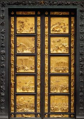 The Gates of Paradise (East Doors) comprising 10 relief panels depicting Old Testament scenes