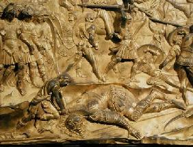 David and Goliath, detail from the original panel from the East Doors of the Baptistery