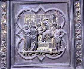 Pontius Pilate Washing his Hands before Christ, sixteenth panel of the North Doors of the Baptistery