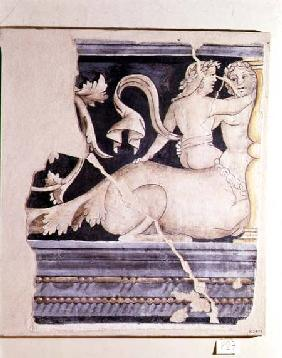 Fragment of a fresco depicting a centaur and a female figure