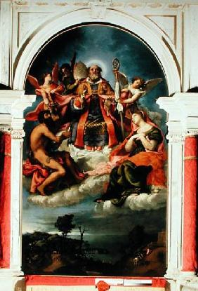 St. Nicholas in Glory with St. John the Baptist, St. Lucy and below St. George Slaying the Dragon