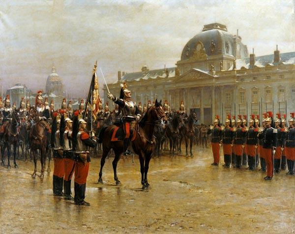 Colonel de La Rochetulon Presenting to the Recruits of the 6th Cavalry the Standard of the Regiment