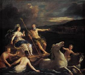 Neptun leads Amphytrite to his lock on his sea car.