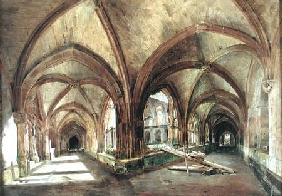 View of the cloister of Saint-Wandrille
