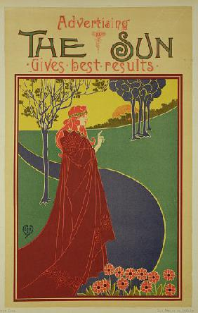 Reproduction of a poster advertising 'The Sun', an American newspaper