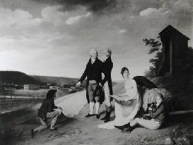 Oberkampf (1738-1815), his Two Sons and his Eldest Daughter in Front of the Jouy-en-Josas Factory