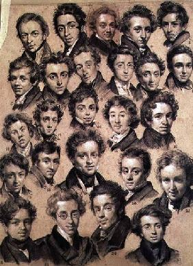 Twenty Five Pupils from the Studio of Antoine Jean Gros (1771-1835) 1820 (charcoal & chalk on paper)