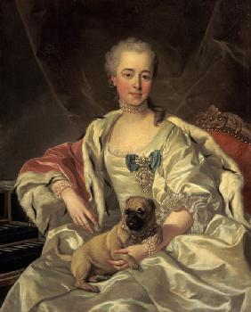 Portrait of the princess Golytschina with her little dog