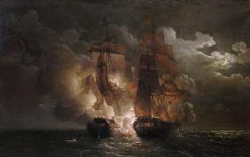 Battle Between the French Frigate 'Arethuse' and the English Frigate 'Amelia' in View of the Islands
