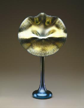 Blue and gold favrile 'Jack-in-the-Pulpit' vase