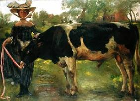 The Painter Charlotte Berend With A Bull