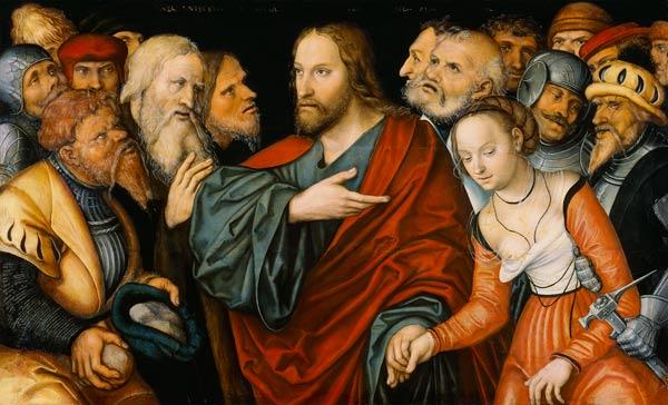 Christ And The Adulteress Lucas Cranach D J As Art Print Or Hand