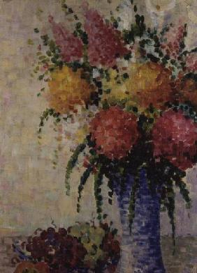 Fruit and Flowers in a Blue Vase
