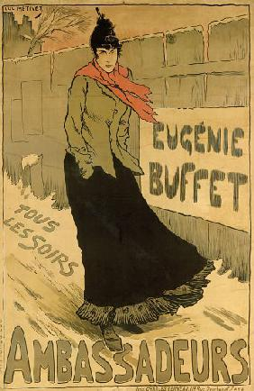 Reproduction of a poster advertising 'Eugenie Buffet', at the Ambassadeurs, Paris