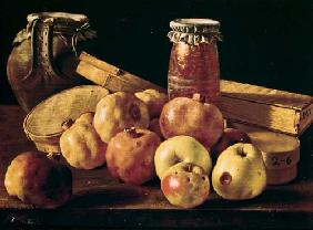 Still Life with Pomegranates, Apples, a Pot of Jam and a Stone Pot