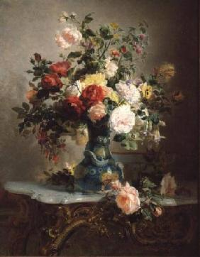 Vase of Roses and Other Flowers