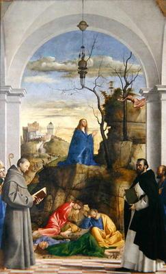 Agony in the Garden with SS. Dominico, Mark, Louis of Toulouse and Francis of Assisi, 1510 (oil on c