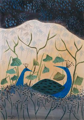 Paons Or et Argent, 1985 (gouache on paper)