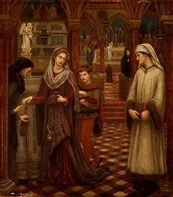 The first meeting of Petrarca and Laura in the church Sta. Chiara (Avignon)