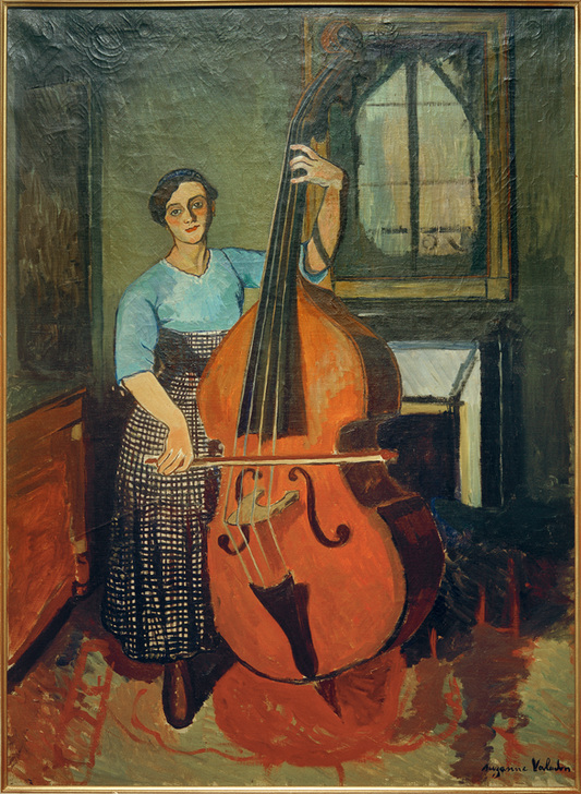 Frau mit Kontrabass - Marie Clementine (Suzanne) Val as art print or hand  painted oil.