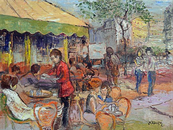 Paris Terrasse De Cafe Marina Kravetz As Art Print Or