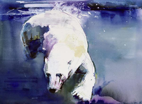 Underwater Bear, 1999 (mixed media on paper)